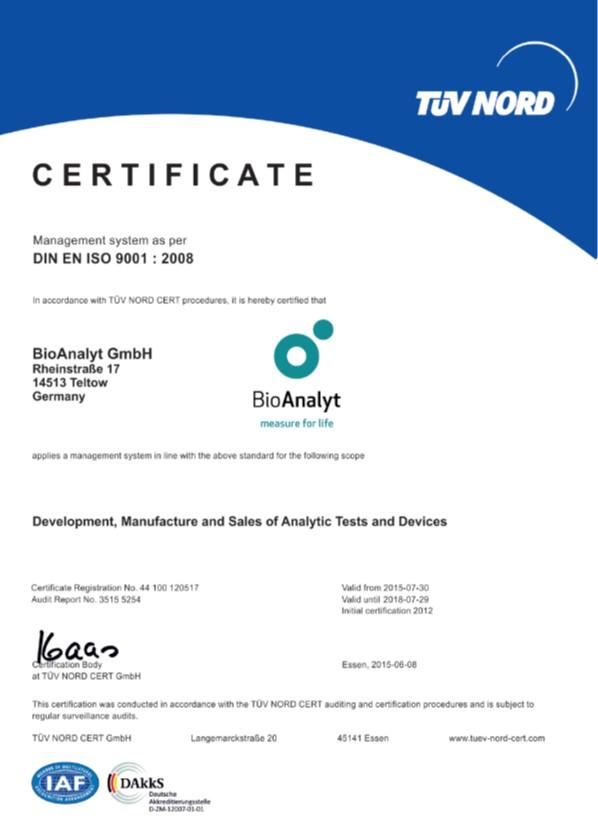 Bioanalyt - TÜV Nord Certificate